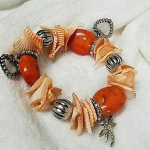 B673 Marbled Stone&Chipped Shell Stretch Bracelet